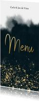 Stijlvolle menukaart blauwe waterverf, goud spetters & tekst
