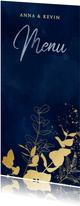 Stijlvolle menukaart gouden takjes blauwe waterverf