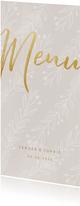 Stijlvolle menukaart gouden tekst naturel takjes