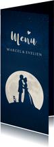 Stijlvolle menukaart huwelijk trouwen met silhouet in maan