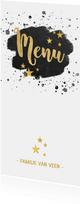 Stijlvolle menukaart kerstdiner zwarte verf gouden tekst