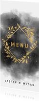 Stijlvolle menukaart waterverf, gouden takjes en spetters