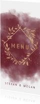 Stijlvolle menukaart waterverf koperkleur takjes en spetters