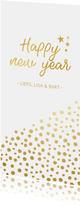 Stijlvolle nieuwjaarskaart met gouden stippen