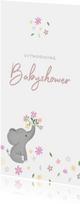 Stijlvolle uitnodiging babyshower met olifantje & bloemetjes