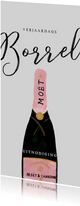 Stijlvolle uitnodiging verjaardagsborrel champagne
