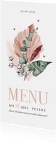 Stilvolle Menükarte Hochzeit Trockenblumen und Herzchen