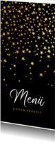 Stilvolle Menükarte zu Weihnachten goldene Sterne