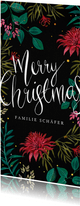 Stilvolle Weihnachtskarte mit Blumen und Kalligraphie