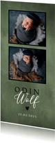 Stoer geboortekaartje met foto's, groene waterverf en hartje