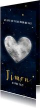 Stoer geboortekaartje met hartvormige maan, sterren & heelal