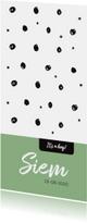Stoer geboortekaartje zwart witte stippen