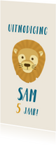 Stoere kinderfeestje kaart safari met leeuw