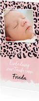 Taufeinladung eigenes Foto Leopardenprint rosa