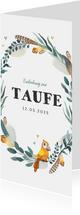 Taufeinladung mit Feder-Blumenkranz und Vogel