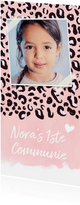Trendy communiekaart met roze luipaard print en foto