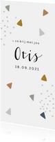 Trendy geboortekaartje met gekleurde driehoekjes