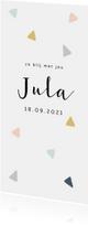 Trendy geboortekaartje met multicolor driehoekjes