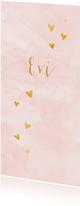 Trendy meisjes geboortekaartje met gouden hartjes