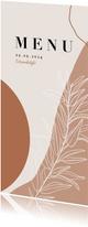 Trendy menukaart bruiloft abstracte vormen aardetinten