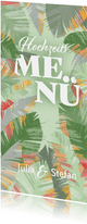 Tropische Blätter Menükarte