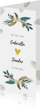 Trouwkaart bohemian romantisch met veren en hartje