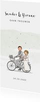 Trouwkaart bruidspaar op fiets met hartjes