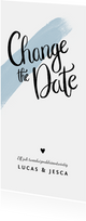 Trouwkaart change the date met verf en kalligrafie