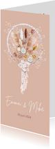 Trouwkaart droogbloemen macrame