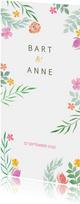 Trouwkaart langwerpig kleurrijk botanisch