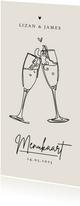 Trouwkaart menukaart stijlvol modern champagne pastel