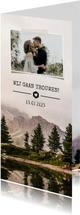 Trouwkaart natuur berglandschap met eigen foto en trouwdatum
