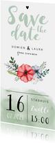 Trouwkaart Save the date met waterverf en bloemen