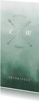 Trouwkaart Scandinavisch met pijlen langwerpig