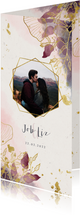 Trouwkaart stijlvol met foto, waterverf en gouden bloemen