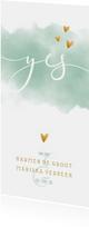 Trouwkaart 'YES' met waterverf en gouden hartjes