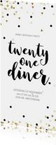 Uitnodiging 21 Diner party confetti zwart wit