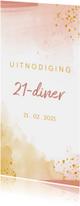 Uitnodiging 21 diner waterverf oker goud met roze