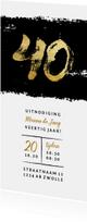 Uitnodiging 40 met zwarte inkt stoer