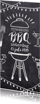 Uitnodiging barbecue feest krijtbord lichtjes