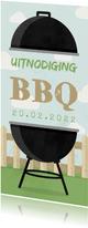 Uitnodiging BBQ met barbecue, hekje en wolken