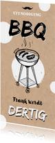 Uitnodiging BBQ Tuinfeest kraft look met illustratie