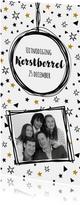 Uitnodiging Borrel confetti zwart wit goud