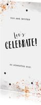 Uitnodiging borrel feestje stijlgoud confetti met sterretjes