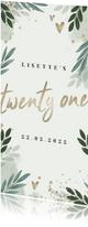 Uitnodiging botanisch 'twenty one' met gouden hartjes