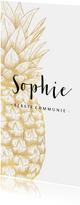 Uitnodiging communie gouden ananas langwerpig