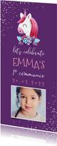 Uitnodiging communie unicorn met confetti en foto