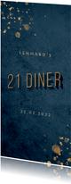 Uitnodiging donkerblauw 21 diner met gouden accenten