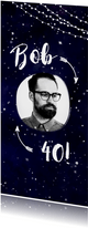 Uitnodiging Galaxy met foto, pijlen en lampjes