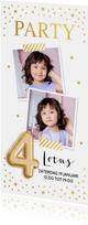 Uitnodiging goud confetti ballon 4 jaar kinderfeestje